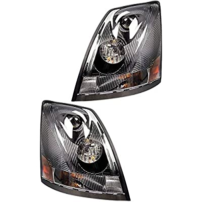 Volvo 2004-2020 VN/VNL Truck Headlight Pair Set Left Right Side with All Bulbs (TR001-L, TR001-R): Automotive