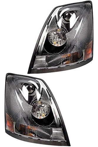 (Volvo 2004-2017 VN/VNL Truck Headlight Pair Set Left Right Side with All Bulbs (TR001-L, TR001-R))