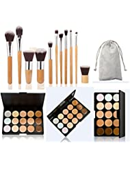 U-beauty New 15 Colors Contour Face Cream Makeup Concealer Palette + 11 PCS Makeup Brush Set Cosmetic Bamboo Handle with a brush bag by UBeauty