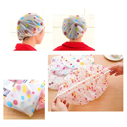Jaciya Pack of 12 Shower Cap Waterproof Bath Cap Elastic Plastic Bathing Hair Cap Lady Salon Hat by Jaciya (Image #1)