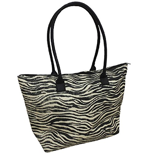 - Beach Bag Womens Tote Summer Bags Animal print Zebra Zipped Closure Airee Fairee
