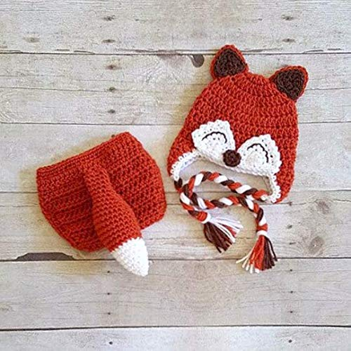 5308eb1de Amazon.com: Crochet Baby Fox Hat Beanie Diaper Cover Bow Newborn ...