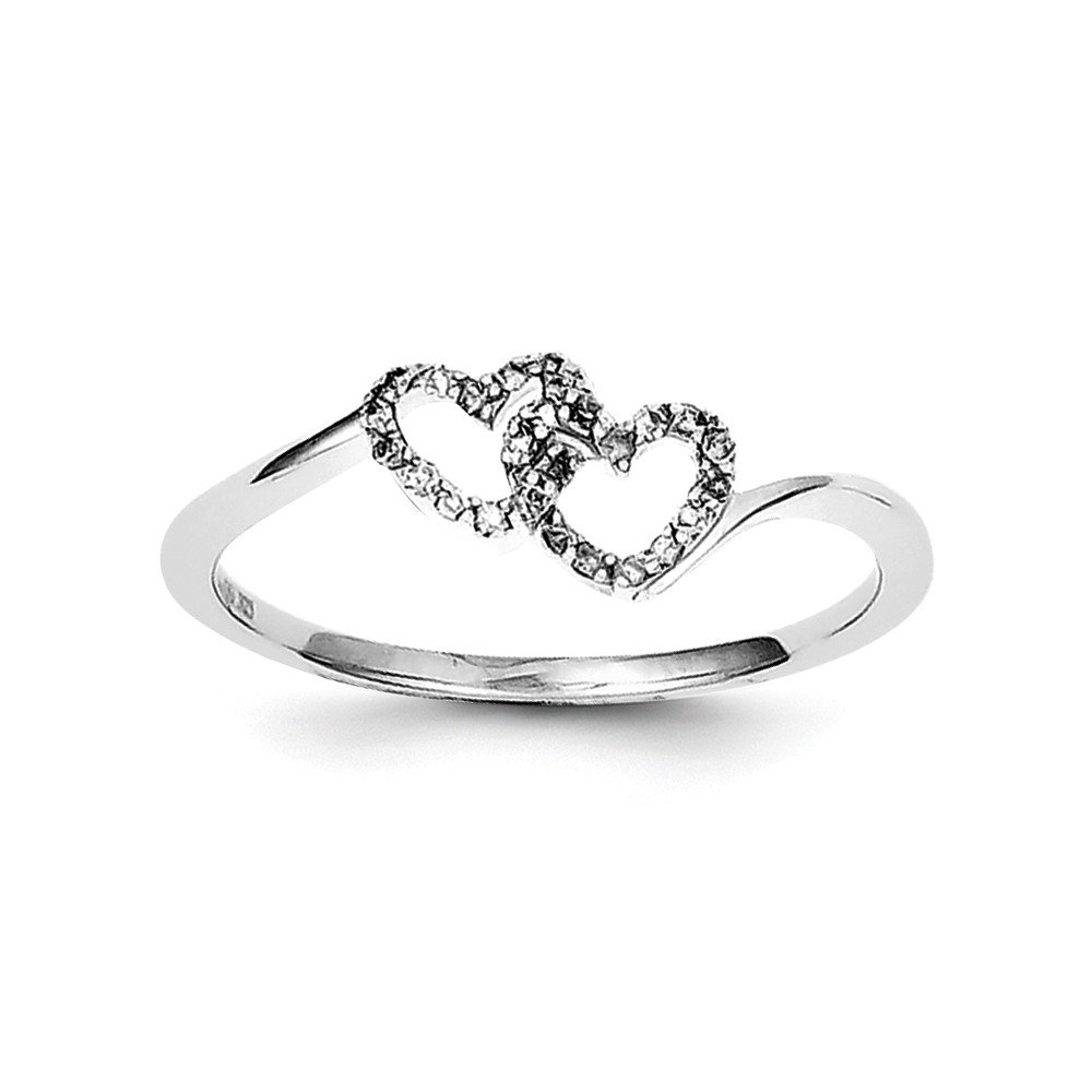 Jewelry Best Seller Sterling Silver Rhodium Plated Diamond Double Heart Promise Ring