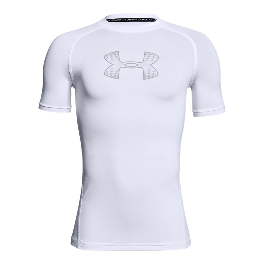 Under Armour Boys Heatgear Armour Short Sleeve Fitted Shirt, White (101)/Overcast Gray, Youth Small by Under Armour