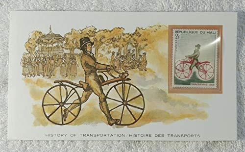 The Bicycle - Postage Stamp (Mali, 1968) & Art Panel - The History of Transportation - Franklin Mint (Limited Edition, 1986) - 1809 Draisienne, Biking, Cycling, Bicycling