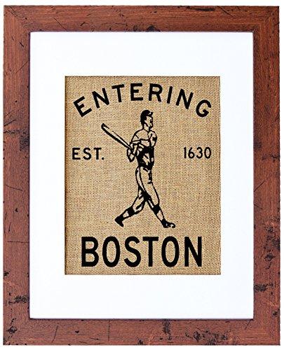 Fiber and Water Entering Boston Burlap Wall Art Decor, 8″ x 10″ Art, 11″ x 14″, Rustic Walnut Review