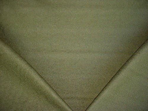 136H18 - Basil / Olive Green Jumper Herringbone Designer Upholstery Drapery Fabric - By the Yard