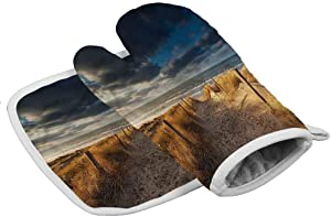 prunushome Beach Microwave Oven Insulation Gloves Sandy Path to The North Sea Polyester Kitchen Supplies 7.9x11 inch/7.9x7.9 in