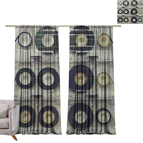(berrly Thermal Insulated Curtains 90s,Picture of Six Audio Cassettes for Recorder Retro Style Vintage Old Time Popular Technology, Black W84 x L108 Art Blackout Drapes)