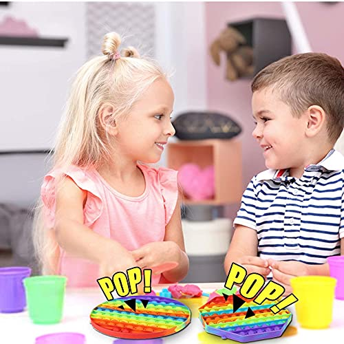 Cheap Pop Bubble Fidget Toy Large Jumbo Rainbow Octagon Popitsfidgets Push Poppers Big Poppit Giant Sensory Popet Autism ADHD Anxiety Stress Relief Satisfying Popping for Kid Children Teens 7.9 In