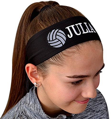 (Volleyball TIE Back Moisture Wicking Headband Personalized with The Embroidered Name of Your Choice (Black Solid Tie Back))
