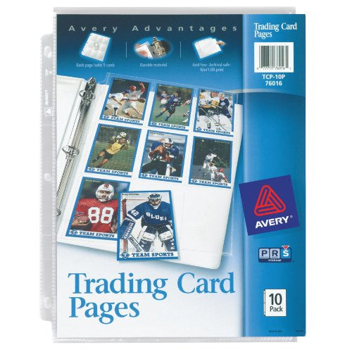 Avery Trading Card Pages for Pokemon, Magic The Gathering, MLB Baseball, NFL Football, Acid Free, 10Pk (76016)