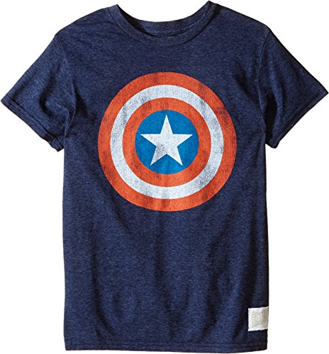 The Original Retro Brand Kids Boy's Captain America Tri-Blend Tee (Little Kids/Big Kids) Streaky Navy T-Shirt LG (Big Kids)