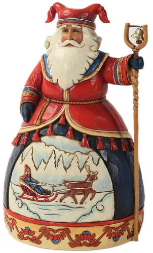 (Enesco Jim Shore Heartwood Creek Lapland Santa with Sleigh Scene Figurine, 10-Inch)