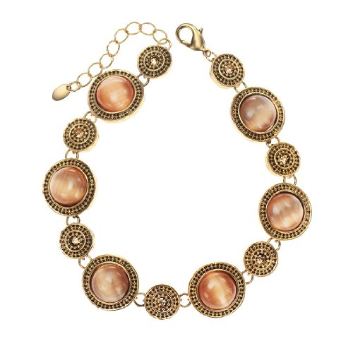 Neoglory Jewelry 14k Gold Plated Vintage Round Brown Opal Tennis Link Bracelet 8 Inch