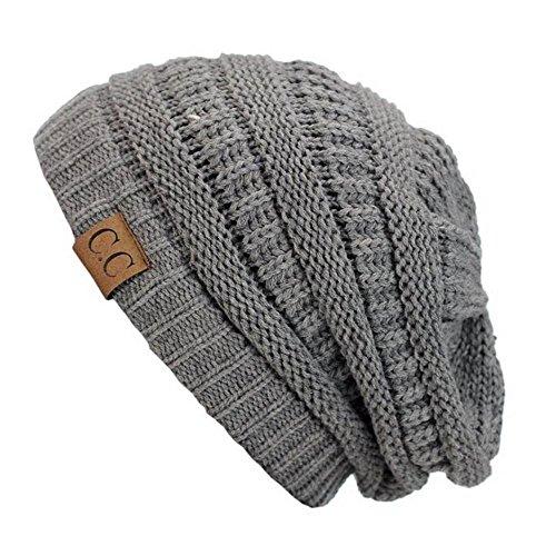 Light Grey_New Super Cute Thick Cap Hat 100%AcrylicUnisex Winter hat warm (US - Hottest Women Arabic