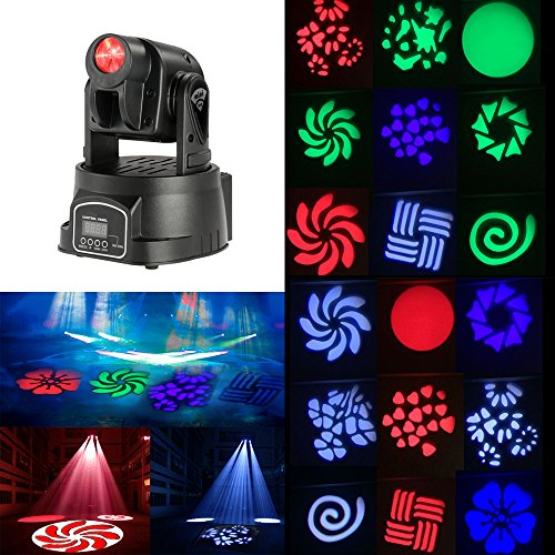 Docooler 50W Moving Head Light Auto Rotating DMX512 5/13 Channels Sound Control RGB Color Changing Gobo Pattern LED for Disco KTV Club Party ()
