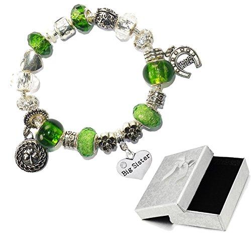 Charm Buddy Big Sister Green Silver Crystal Good Luck Pandora Style Bracelet With Charms Gift (Big Sister Italian Charm)