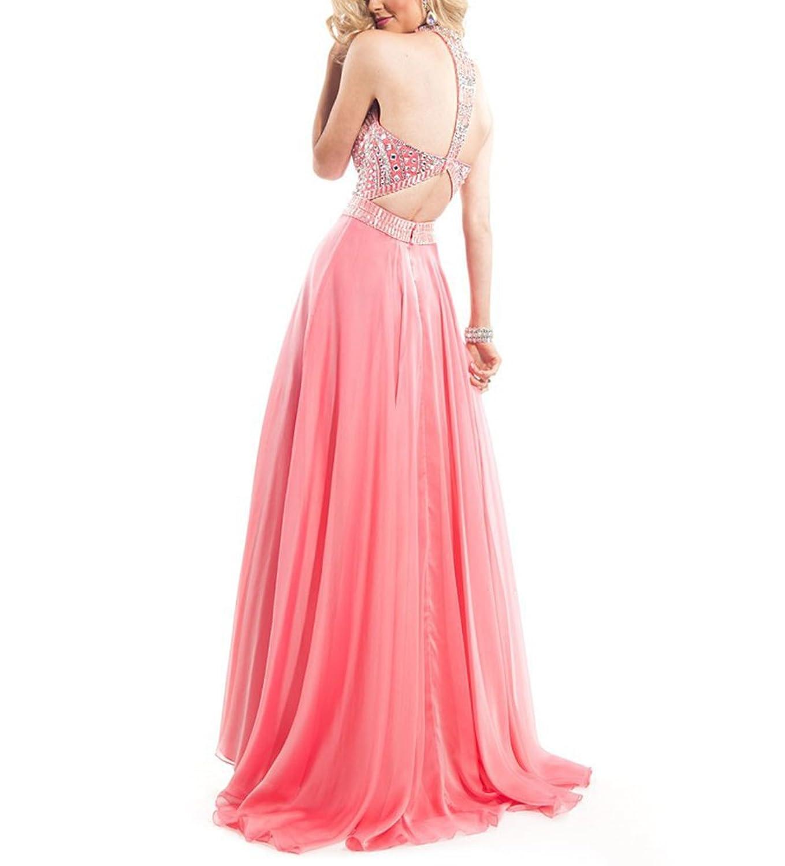Bridal_Mall Women's Sparkling Crystal Beaded Chiffon Prom Dresses