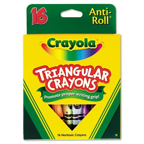 Crayola Products - Crayola - Triangular Crayons, Assorted, 16/Box - Sold As 1 Box - Triangular shape ensures that crayons won't roll away or off surfaces. - Features Anti-Roll benefit. - Helps promote proper writing grip development. - Non-washable formula. - -