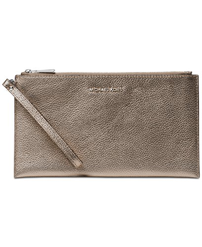 Michael Kors Mercer Large Zip Clutch in Gunmetal