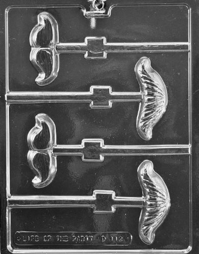 Mustache Assortment Lollipop Chocolate Mold - D112 - Includes Melting & Chocolate Molding Instructions