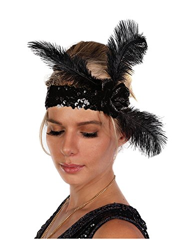 Women's Sequin Flapper Headband with Feathers (Black) (Great Gatsby Daisy Dress)