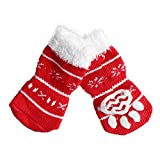 Tenworld Christmas Snowman Pet Dog Socks Cute Non-slip Warm Pawks Dog Socks (Red, L)