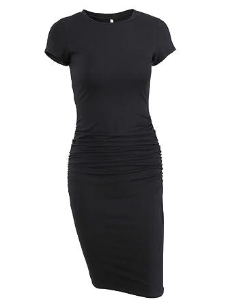 76fc492827a Missufe Women s Ruched Casual Sundress Midi Bodycon Sheath Dress (Black