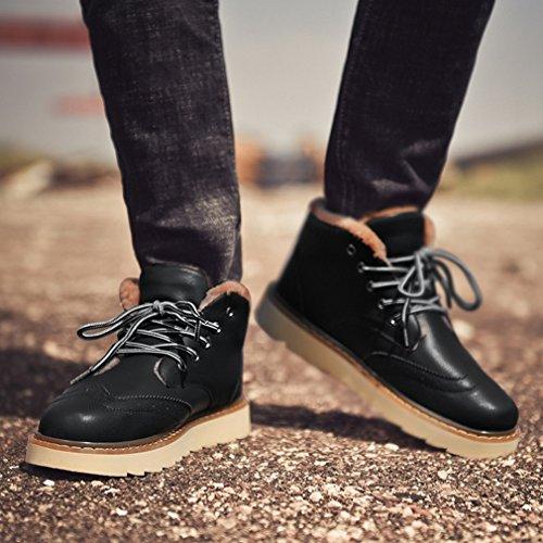 LFEU Homme Chaussure de Ville Botte Hiver en Cuir Loisir Chaud Antichoc 39-44 noir,velours