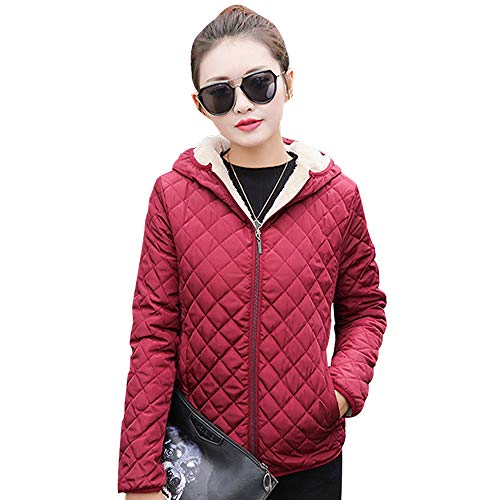 Thicken Outdoor ZEVONDA Slim Womens Coat Warm Jacket Outerwear Down Wine Hooded Fleece Jacket Quilted Red qr40AwI4S
