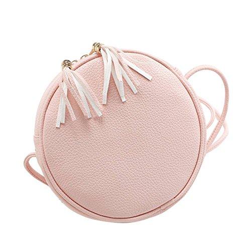 Badiya Mini Round Cross Body Bag PU Leather Double Tassel Pendant Shoulder Zipper Bag Pink
