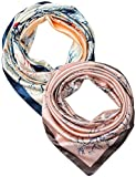 2 Pcs 35 Inches Silk Feeling Prussian Blue Beige Davy Grey Apricot Colourful Trees Design Square Scarf Hair Scarves