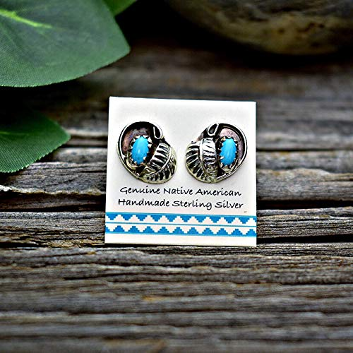 Genuine Sleeping Beauty Turquoise Stud Earrings, 925 Solid Sterling Silver, Authentic Navajo Native American Handmade in the USA, Small and Dainty Natural Stone for Women, Nickle Free