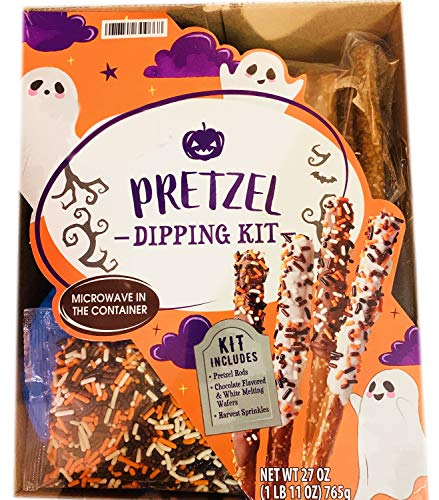 Halloween Chocolate Pretzel Dipping Kit! Includes Pretzel Rods, Sprinkles, Chocolate Flavored & White Melting Wafers! Enjoy and Create Colorful Delicious Fall Treat! Perfect For Kids And Adults!