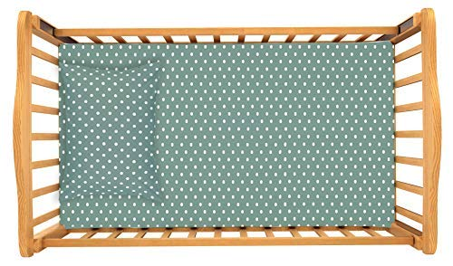 (Crib/Toddler Bed Sheet and Toddler Pillowcase Set (Sage Green Polka Dot) 100% Premium Cotton by Dreamtown Kids )