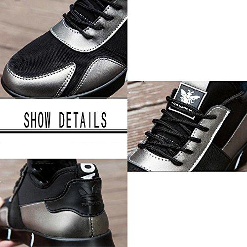 GAOLIXIA da per donna pelle scarpe Gun da tessuto da uomo in sportive da running Scarpe ginnastica autunno coccodrillo color Scarpe lacci di sportive in inverno con Colore nero 5q0waxFcE4