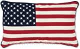 Handmade Hand-Crafted 100% Wool Needlepoint 4th of July Summer Nautical Memorial Day Independence USA Stars Stripes American Flag Decorative Patriotic Throw Pillow. 12'' x 21''.