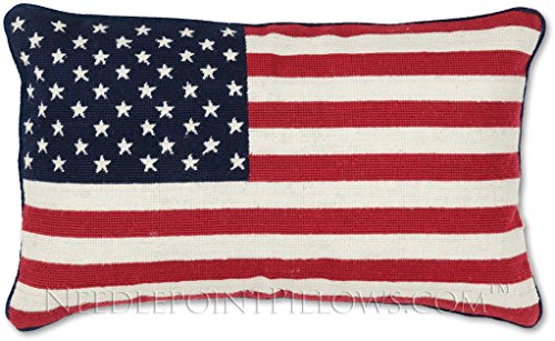Handmade Hand-Crafted 100% Wool Needlepoint 4th of July Summer Nautical Memorial Day Independence USA Stars Stripes American Flag Decorative Patriotic Throw Pillow. 12