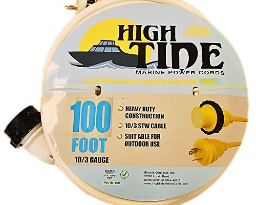 Marine Shore Power Extension Cord 30 Amp - 100 ft White (9507W) by High Tide marine Power Cords
