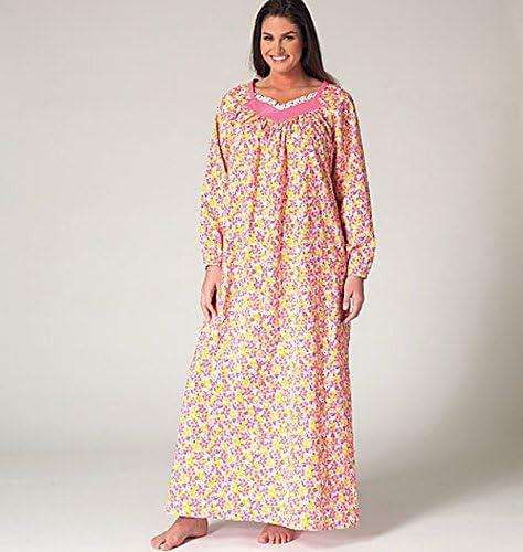 Brown Kwik Sew Patterns K4145OSZ,Womens Top,Nightgown and Pants,Sizes 1X-2X-3X-4X