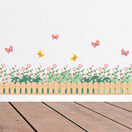 (BIBITIME Garden Blooming Flower Border Fence Butterfly Wallpaper Girls Bedroom Wall Decal Living Room Nursery Kids Room Skirting Stickers DIY 38
