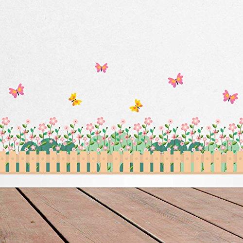 Garden Butterfly Wallpaper Border - BIBITIME Garden Blooming Flower Border Fence Butterfly Wallpaper Girls Bedroom Wall Decal Living Room Nursery Kids Room Skirting Stickers DIY 38