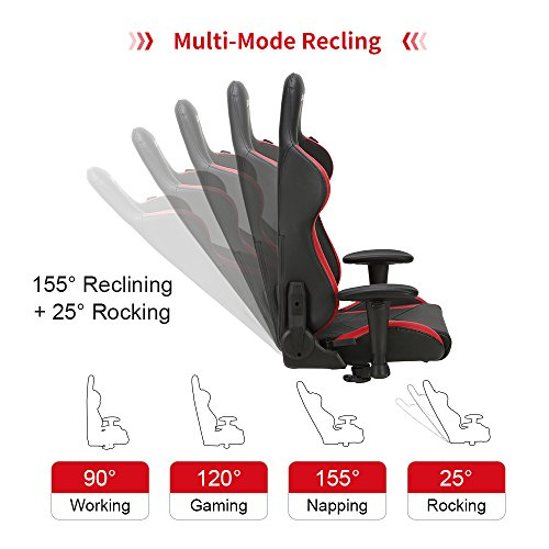 AutoFull Computer - Adjustable PU Leather Swivel Game with and Lumbar