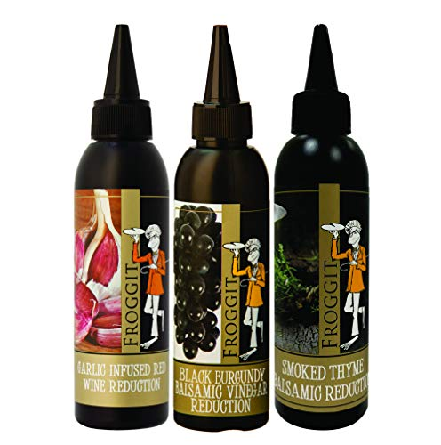 Froggit 3-Piece Garlic Infused Red Wine Vinegar, Burgundy Bliss Balsamic Reduction, Smoked Thyme Balsamic Vinegar Reduction, 150ml