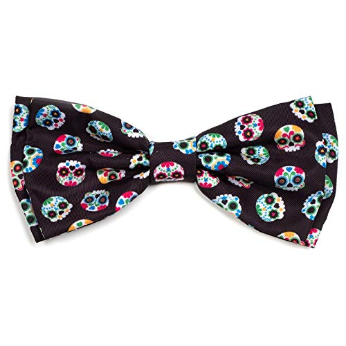 The Worthy Dog Skeleton Sugar Skulls and Flowers Day of The Dead Colorful Pattern Designer Bow Tie for Pet Dog Cat 21958-4254SM
