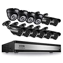 ZOSI 16CH 1080P Security Surveillance Cameras System H.265+ 16 Channel Security Video DVR Recorder,8pcs 1080P HD Bullet Cameras and 4pcs 1080P HD Dome Cameras for Home Security No Hard Drive