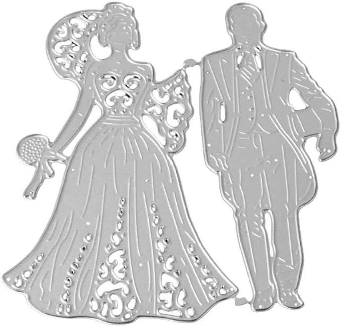 Silber Huhuswwbin Metal Cutting Scrapbooking Cutting Dies,Braut Br?utigam Hochzeit Metall Stanzformen DIY Scrapbooking Einladungskarten Schablone Pr?gewerkzeug