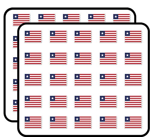 Liberia Africa Sticker for Scrapbooking, Calendars, Arts, Kids DIY Crafts, Album, Bullet Journals 50 Pack ()