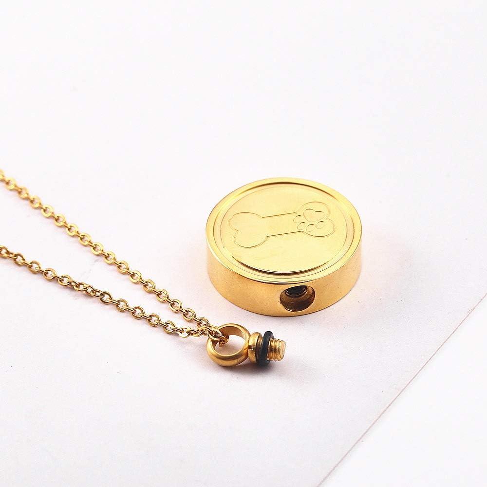 Color : Gold JIEGEGE Dog Memorial Urn Pet Keepsake Ash Urn Pendant Necklace Funeral Casket Urn